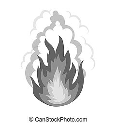 Explosion icon in monochrome style isolated on white background. Explosions symbol stock bitmap, raster illustration.