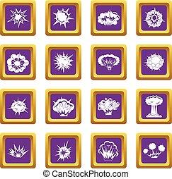 Explosion icons set purple