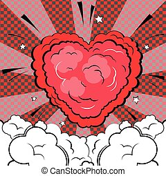 Explosion in form of heart in comic book style.