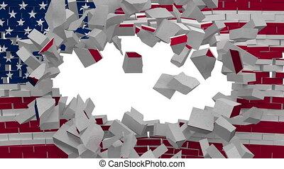 explosion, mur, drapeau etats-unis