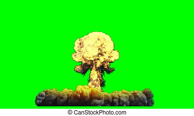 explosion, nucléaire, screen., rendre, animation, vert, bombe, 3d