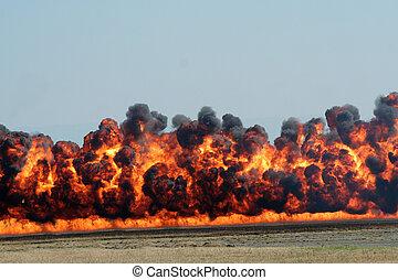explosion, och, svarting ryk