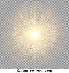 Explosion of a golden star with a glare