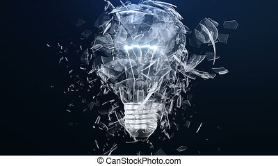 Explosion of an incandescent lamp or ligh bulb. Small pieces...