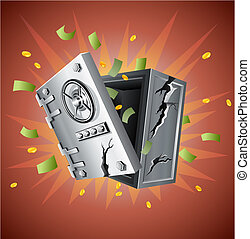 explosion of bank safe with money illustration
