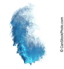 Explosion of blue powder isolated on white background