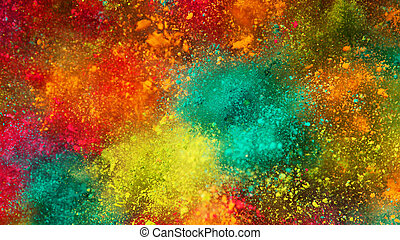 Explosion of colored powder.