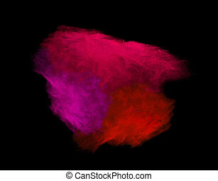 Explosion of colored powder explosion on black background