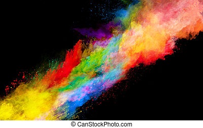 Explosion of colored powder on black background - Explosion...