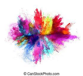 Explosion of colored powder on white background - Explosion ...