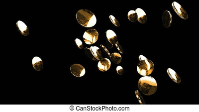 Explosion of gold coins on a black background