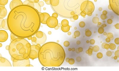 explosion of gold coins on a white background, isolated