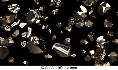 Explosion of gold nugget of stone into small pieces rock impact 4k