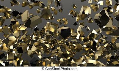 Explosion of golden sphere on black background super slow motion 1000 fps