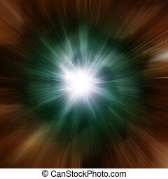 Explosion of green galaxy