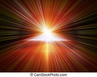 explosion of light, blast