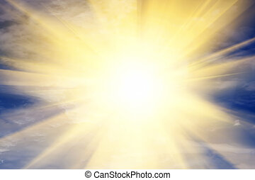 Explosion of light towards heaven, sun. Religion, God, providence.