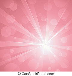 Explosion of light with shiny light dots, striking abstract background in shades of pink. Use of radial and linear gradients, global colors. No transparencies. Artwork grouped and layered.