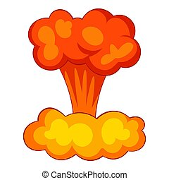 Explosion of nuclear bomb icon, cartoon style