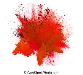 Explosion of orange powder on white background