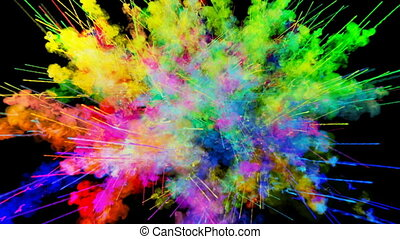 explosion of powder isolated on black background. 3d...