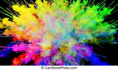 explosion of powder isolated on black background. 3d animation of particles as colorful background or overlays effects. Burst of rainbow colors powder for bright presentation like holi festival. 36