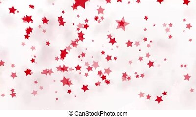explosion of red stars on a white background, fly apart