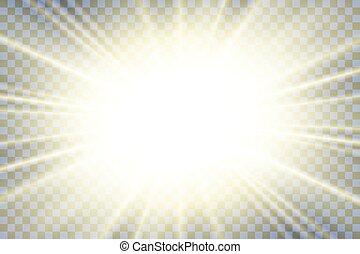explosion., oro, effect., effetto, luminoso, rays., flash., scintilla, scoppio sole, isolato, fondo., ardendo, astratto, stella, starburst, beams., illustrazione, lente, trasparente, splendere, magia, vibrante, vettore, luce