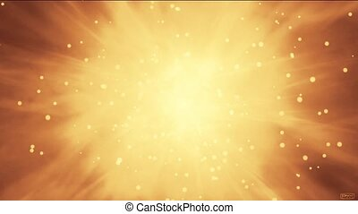 explosion particles in space, flying nebula & rays laser in universe.