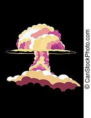 explosion., poster., illustration., cogumelo, nuclear, vetorial, retro, cloud., caricatura