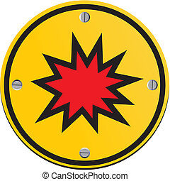 explosion risk - round yellow sign - suitable for warning...
