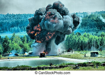 Explosion - Shooting show at military exhibition in Nizhniy...