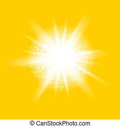 explosion., stern, starburst, funkeln, glühend zündet, funkeln