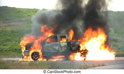 explosion - tires explode on burning pickup explode