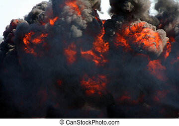 explosion, svarting ryk