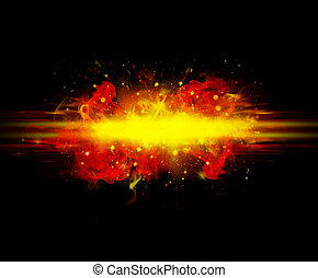 explosion two - black abstract background with red flame...