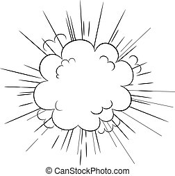 Cartoon style explosion cloud dynamic blast vector illustration