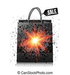 explosion, vente, sac, noir, achats, rouges