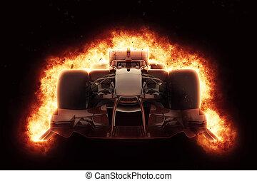 explosion, voiture, effet, course, ardent, 3d