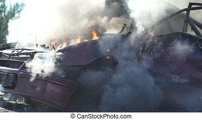 Explosion Wheel On Car. - Wheel Explosion In Burning Car....