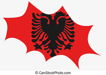 Explosion wit the flag of Albania