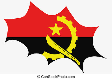 Explosion wit the flag of Angola