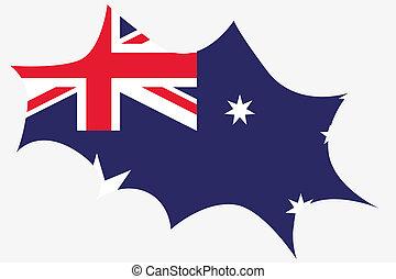 Explosion wit the flag of Australia
