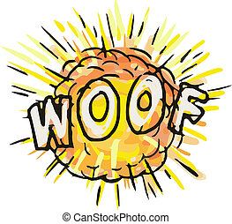 Explosion Woof Cartoon - Illustration of an explosion and...