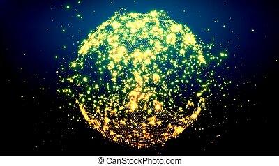 explosion., wybuch, handlowy, kula, presentations., abstrakcyjny, particles., elegancki, jarzący się, wektor, tło, technologia, style., futurystyczny