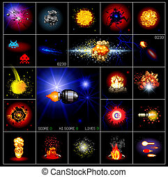 explosions and special effects on black background