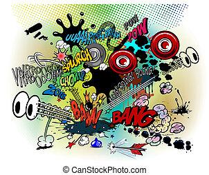 explosions - vector illustration - explosions