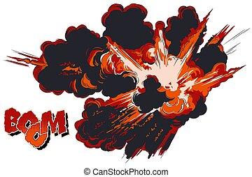 explosions., illustration., acción