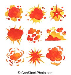 Explosions set, fire explosion effect watercolor vector Illustrations