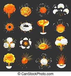 Explosions Set Icons Closeup Vector Illustration